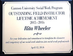 Gannon Univ Award to Rita Wheeler